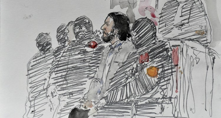 "A courtroom sketch made on February 5, 2018 shows prime suspect in the November 2015 Paris attacks Salah Abdeslam prior to the opening of his trial at the ""Palais de Justice"" courthouse in Brussels. The trial opens on February 5, 2018 of Paris attacks suspect Salah Abdeslam and his alleged accomplice Sofiane Ayari, over a shootout in Brussels that led to their capture. / AFP PHOTO / Benoit PEYRUCQ"