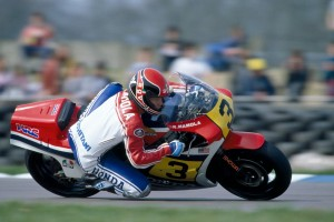 Randy Mamola of the USA riding a Honda NS500 during the Transatlantic Challenge Motorcycle meeting at Donington Park on 22nd April 1984. (Photo by Bob Thomas/Getty Images)