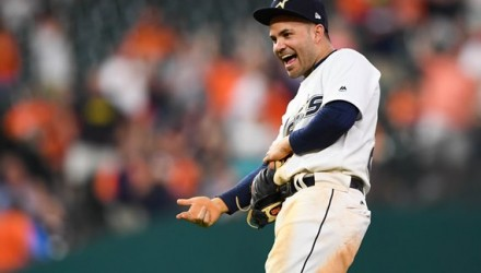 Aug 19, 2017; Houston, TX, USA; Houston Astros second baseman Jose Altuve (27) reacts to the review of the double play against the Oakland Athletics during the ninth inning at Minute Maid Park. Mandatory Credit: Shanna Lockwood-USA TODAY Sports