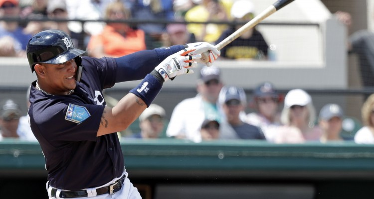 Detroit Tigers' Miguel Cabrera hits a single in the third inning against the Tampa Bay Rays in a spring baseball exhibition game, Monday, March 26, 2018, in Lakeland, Fla. (AP Photo/John Raoux)