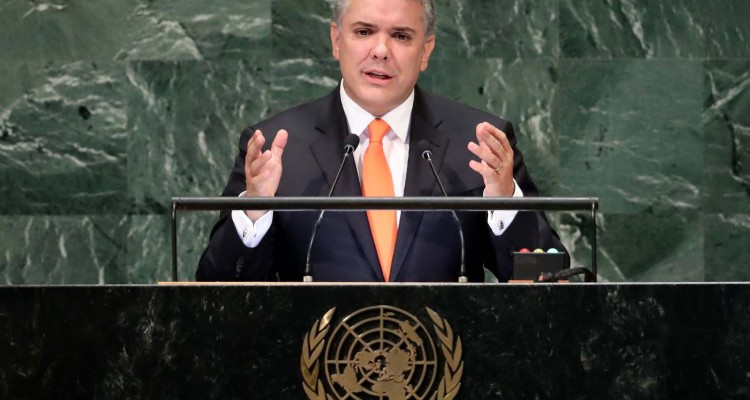 Colombia's President Ivan Duque Marquez addresses the 73rd session of the United Nations General Assembly at U.N. headquarters in New York, U.S., September 26, 2018. REUTERS/Carlo Allegri