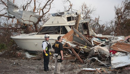 MEXICO BEACH, FL - OCTOBER 16: Members of the Maryland Task Force urban search and rescue team continue to search for victims of Hurricane Michael on October 16, 2018 in Mexico Beach, Florida. Hurricane Michael slammed into the Florida Panhandle on October 10, as a category 4 storm, claiming at least 19 lives and causing massive damage.   Scott Olson/Getty Images/AFP