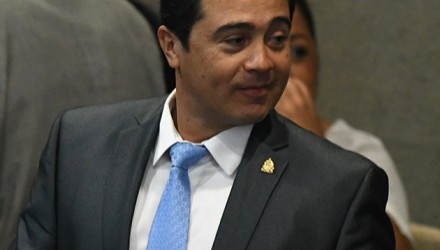 Picture taken on September 2017 of the brother of Honduran President Juan Orlando Hernandez and (then) deputy for the ruling Partido Nacional de Honduras, Juan Antonio Hernandez. - Juan Antonio Hernandez, allegedly involved in a drug trafficking investigation, was arrested in Miami, in the United States, on November 23, 2018, the Honduran government informed. (Photo by Orlando SIERRA / AFP)